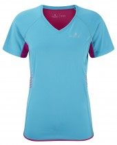 Ron Hill Womans Aspiration T Shirt Cyan/Magenta